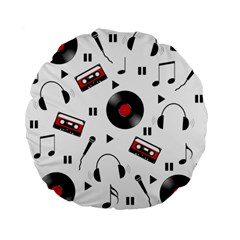 Music Pattern Standard 15  Premium Flano Round Cushions