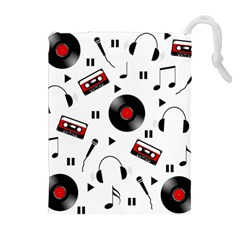 Music pattern Drawstring Pouches (Extra Large)