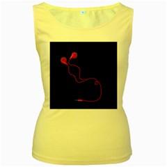 Earphones  Women s Yellow Tank Top