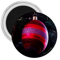 Glass Ball Decorated Beautiful Red 3  Magnets