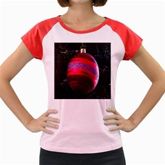 Glass Ball Decorated Beautiful Red Women s Cap Sleeve T-Shirt