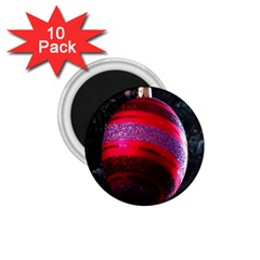Glass Ball Decorated Beautiful Red 1.75  Magnets (10 pack)