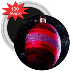 Glass Ball Decorated Beautiful Red 3  Magnets (100 pack)