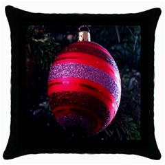 Glass Ball Decorated Beautiful Red Throw Pillow Case (Black)