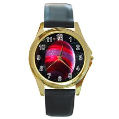 Glass Ball Decorated Beautiful Red Round Gold Metal Watch