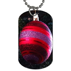 Glass Ball Decorated Beautiful Red Dog Tag (One Side)