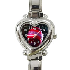 Glass Ball Decorated Beautiful Red Heart Italian Charm Watch