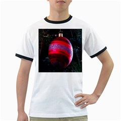 Glass Ball Decorated Beautiful Red Ringer T-Shirts