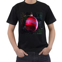 Glass Ball Decorated Beautiful Red Men s T-Shirt (Black) (Two Sided)