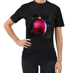 Glass Ball Decorated Beautiful Red Women s T-Shirt (Black) (Two Sided)