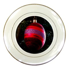 Glass Ball Decorated Beautiful Red Porcelain Plates