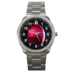 Glass Ball Decorated Beautiful Red Sport Metal Watch