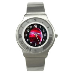 Glass Ball Decorated Beautiful Red Stainless Steel Watch