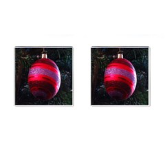 Glass Ball Decorated Beautiful Red Cufflinks (square)