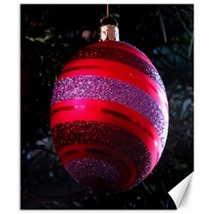 Glass Ball Decorated Beautiful Red Canvas 8  x 10