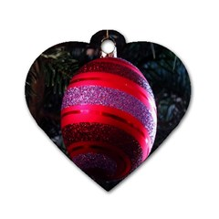 Glass Ball Decorated Beautiful Red Dog Tag Heart (Two Sides)
