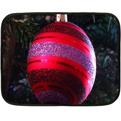 Glass Ball Decorated Beautiful Red Double Sided Fleece Blanket (Mini)
