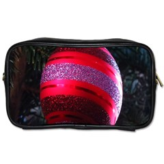 Glass Ball Decorated Beautiful Red Toiletries Bags 2 Side