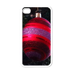 Glass Ball Decorated Beautiful Red Apple Iphone 4 Case (white)