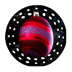 Glass Ball Decorated Beautiful Red Round Filigree Ornament (Two Sides)