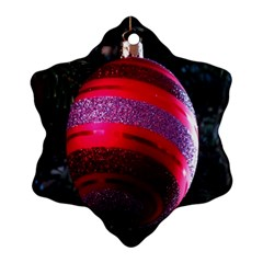Glass Ball Decorated Beautiful Red Snowflake Ornament (Two Sides)