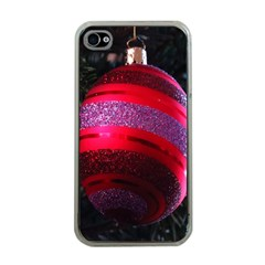 Glass Ball Decorated Beautiful Red Apple iPhone 4 Case (Clear)
