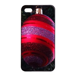 Glass Ball Decorated Beautiful Red Apple Iphone 4/4s Seamless Case (black)