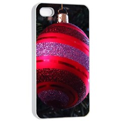 Glass Ball Decorated Beautiful Red Apple iPhone 4/4s Seamless Case (White)