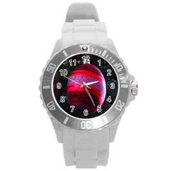 Glass Ball Decorated Beautiful Red Round Plastic Sport Watch (L)