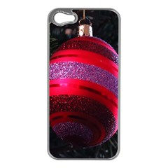 Glass Ball Decorated Beautiful Red Apple Iphone 5 Case (silver)