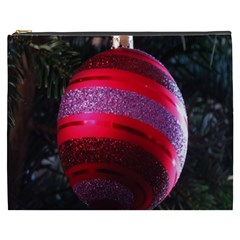 Glass Ball Decorated Beautiful Red Cosmetic Bag (XXXL)