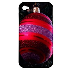 Glass Ball Decorated Beautiful Red Apple Iphone 4/4s Hardshell Case (pc+silicone)