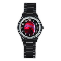 Glass Ball Decorated Beautiful Red Stainless Steel Round Watch