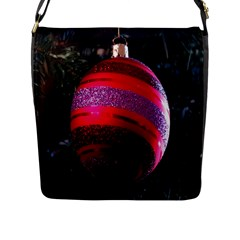 Glass Ball Decorated Beautiful Red Flap Messenger Bag (l)