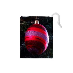 Glass Ball Decorated Beautiful Red Drawstring Pouches (small)