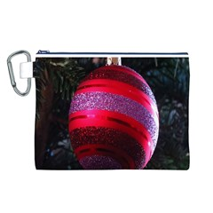 Glass Ball Decorated Beautiful Red Canvas Cosmetic Bag (L)
