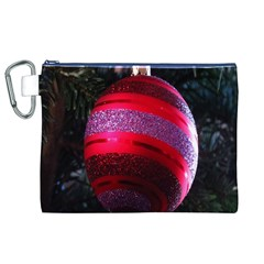 Glass Ball Decorated Beautiful Red Canvas Cosmetic Bag (XL)