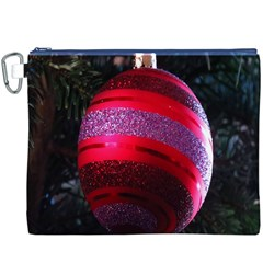 Glass Ball Decorated Beautiful Red Canvas Cosmetic Bag (xxxl)