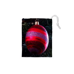 Glass Ball Decorated Beautiful Red Drawstring Pouches (xs)