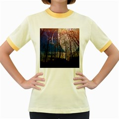 Full Moon Forest Night Darkness Women s Fitted Ringer T-Shirts
