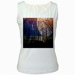 Full Moon Forest Night Darkness Women s White Tank Top