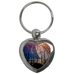 Full Moon Forest Night Darkness Key Chains (Heart)