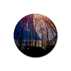 Full Moon Forest Night Darkness Rubber Coaster (round)