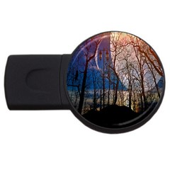 Full Moon Forest Night Darkness Usb Flash Drive Round (2 Gb)