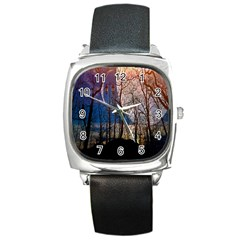 Full Moon Forest Night Darkness Square Metal Watch