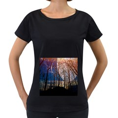 Full Moon Forest Night Darkness Women s Loose-Fit T-Shirt (Black)
