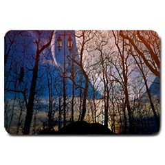 Full Moon Forest Night Darkness Large Doormat