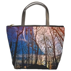 Full Moon Forest Night Darkness Bucket Bags