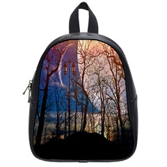 Full Moon Forest Night Darkness School Bags (Small)
