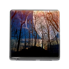 Full Moon Forest Night Darkness Memory Card Reader (Square)